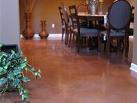 Residential dining room concrete floor