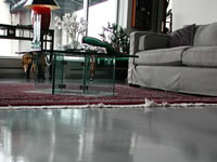 Grey living room concrete floor