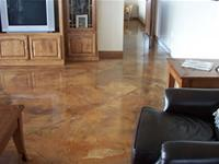 Tan residential concrete floor